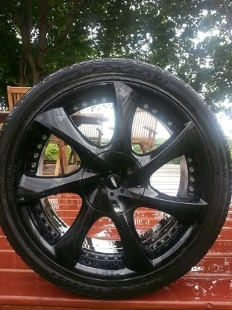 4 BLACK RIMS WITH TIRES IN GREAT CONDITION!! - $750