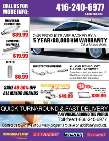 Low Prices on Catalytic Converters, Mufflers, Flexes, Tips, etc. . .. . .